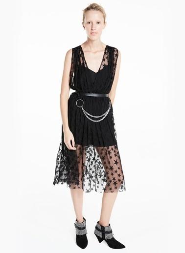 Yıldız Desenli Transparan Elbise-Twist